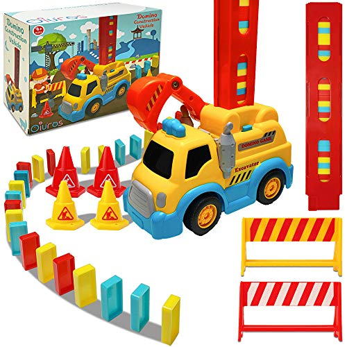 Domino Train, Domino Blocks Set, Domino Construction Vehicle Toys, Building and Stacking Toy Blocks Domino Set for 3-7 Year Old Toys, Boys Girls Creative Gifts for Kids