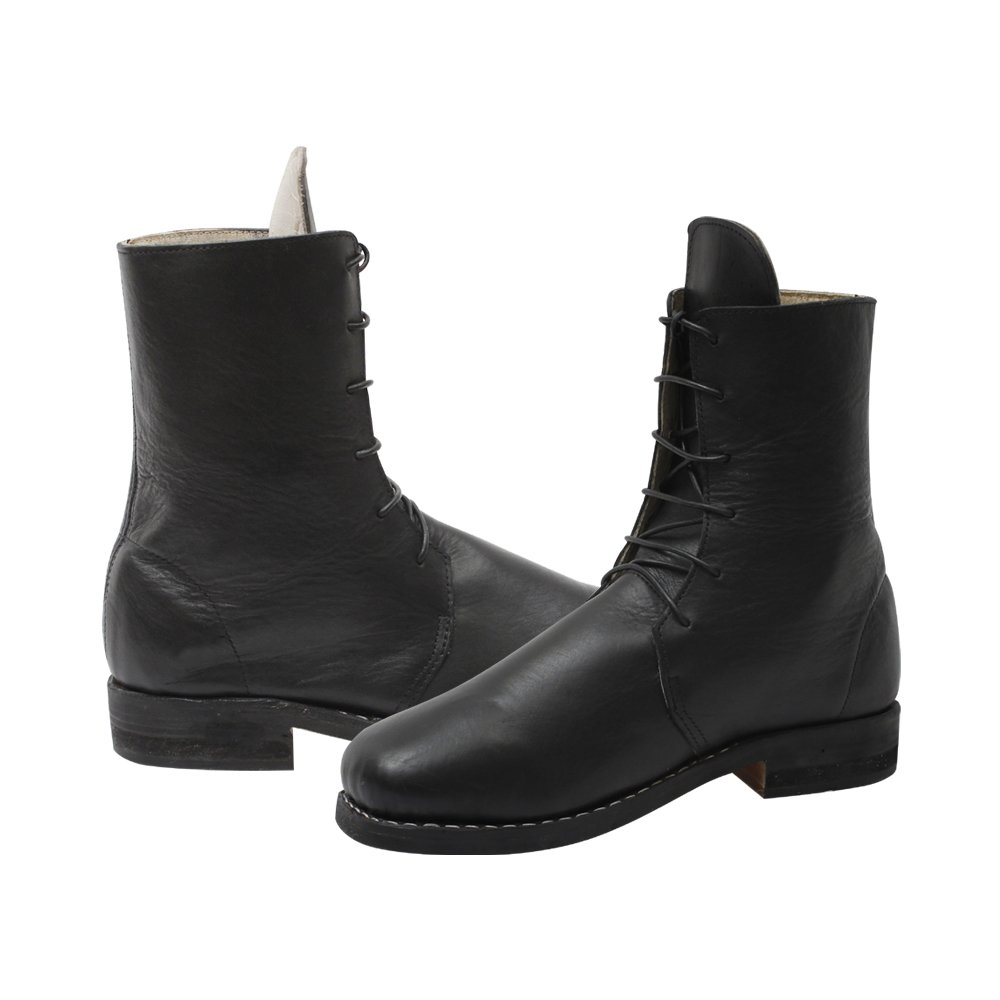 Retro Clothing for Men | Vintage Men's Fashion 10Code Mens Derby Shoes Black Leather Front Lace-up Boots £75.00 AT vintagedancer.com