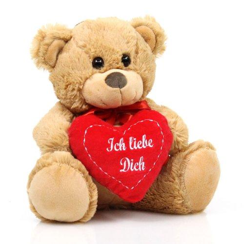Teddybär Plüschbär mit Herz Teddy Bär beige hellbraun Ich liebe Dich 25 cm Plüschtier Kuscheltier