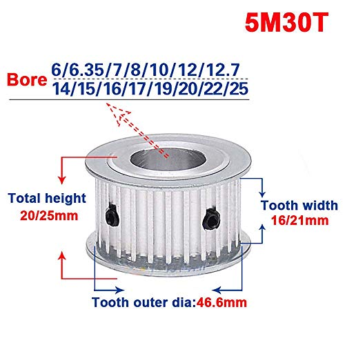 (5M 30T Timing Belt Pulley Gear Synchronous Wheel Sprocket 12mm Bore For 15mm Width Belt (Tooth width:16mm, Bore:12mm))