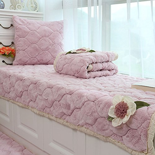 GX&XD Plush Non-Slip Bay Window pad,Mat Cushion Cover Window sill pad Balcony mat Matt mat Bay Window Carpet-Pink 85x158cm(33x62inch) ()