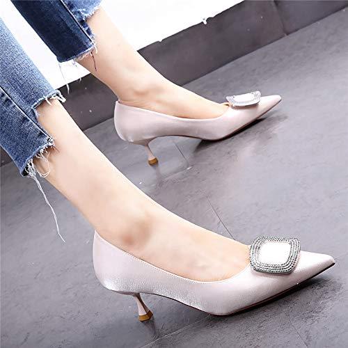 HOESCZS Halbhackige Schuhe 19 Frühjahr Neue Spitze Temperament Satin Stiletto Stiletto Stiletto Heels quadratische Schnalle Strass Wilde einzelne Schuhe 57de8e