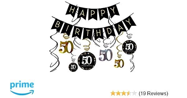 85438cb0 Amazon.com: 50th Birthday Decorations Kit- Gold Glitter Happy Birthday  Banner & Sparkling Celebration 50 Hanging Swirls-50th Anniversary  Decorations: Health ...