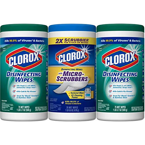 Clorox Disinfecting Wipes ZXFAF Disinfecting Wipes Plus with Micro-Scrubbers Value Pack - Bleach Free Cleaning Wipes, Pack of 12, 75 Wipes Each by Clorox Disinfecting Wipes (Image #1)
