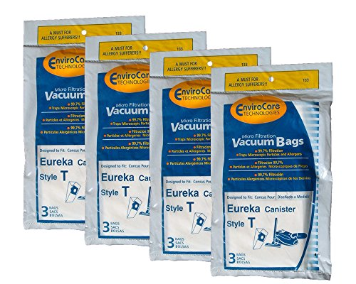 12 Eureka T Allergy Canister Vacuum Bags, Canister -