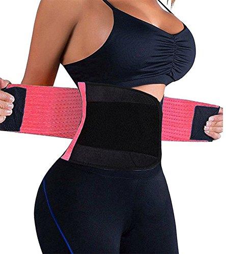 FeelinGirl Waist Trimmer Sport Girdle Waist Trainer Body Cincher Shapewear XL Phosphor Pink (Exercises For A Flatter Stomach And Sleeker Torso)