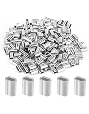"""AIEX 200Pcs Aluminum Crimping Loop Sleeve Wire Rope Sleeves Ferrule Crimping Loop Sleeve for 1/16"""" Diameter Wire Rope and Cable (1/16 Inch)"""
