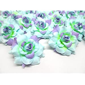 "(24) Silk Blue Purple Roses Flower Head - 1.75"" - Artificial Flowers Heads Fabric Floral Supplies Wholesale Lot for Wedding Flowers Accessories Make Bridal Hair Clips Headbands Dress 74"