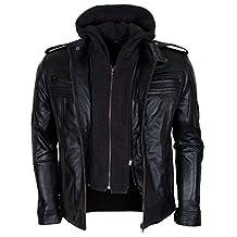 WWE TNA Impact Detachable Hooded AJ Styles Motor Biker Black Real Leather Jacket