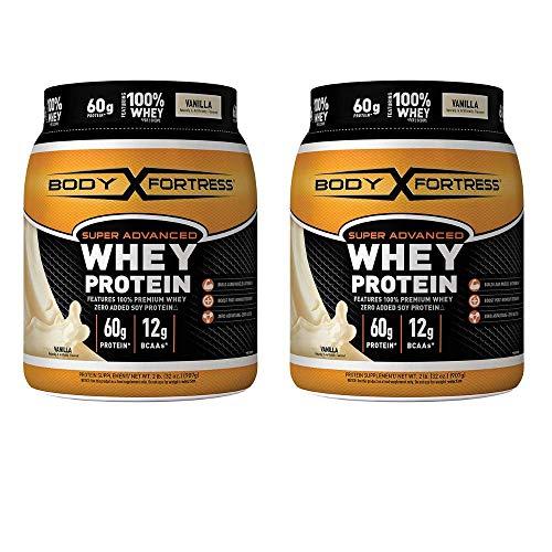 Body Fortress Super Advanced Whey Protein Powder, Gluten Free, Vanilla, 2 lbs - 2 pack