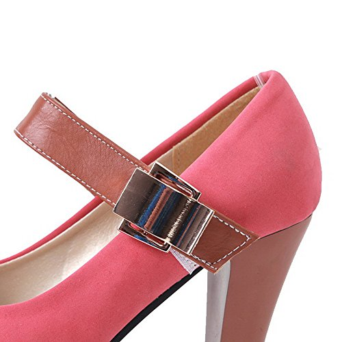VogueZone009 Damen Ziehen auf Hoher Absatz PU Leder Gemischte Farbe Rund Zehe Pumps Schuhe Pink