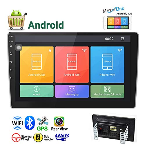 """Camecho Android Double Din Car Stereo 10.1"""" HD 2.5D Touch Screen GPS Navigation Radio Bluetooth FM Player Support Android/iOS Phone Mirror Link with WiFi/AUX/Dual USB/DVR/Backup Camera Input"""