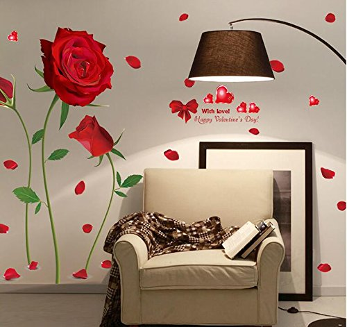 Delightful Brooch ((High-Season) 2017 new Removable Red Rose Life Is The Flower Quote Wall Sticker Mural Decal Home Room Art Decor DIY Romantic Delightful 6055)