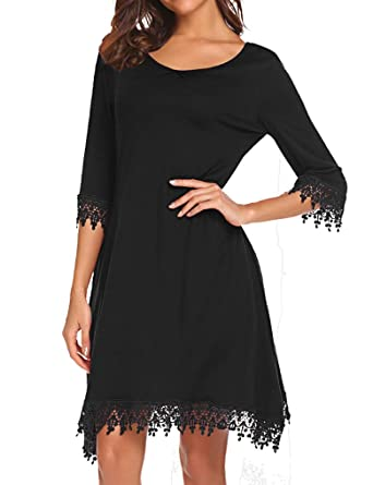 c3fd3bd7f7b Tobrief Women s V-Neck Half Sleeve Lace Trim Casual Loose T-Shirt Dress with