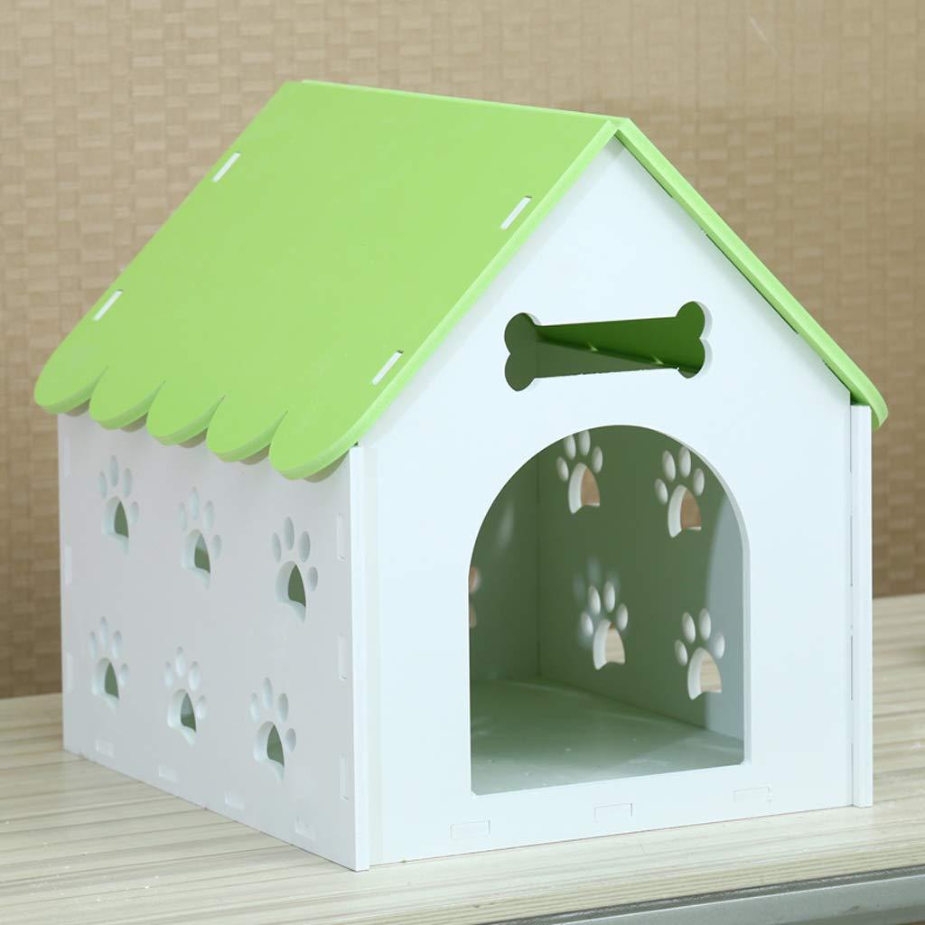 Nido para mascotas Kennel Cat litter Casa de perro en el interior Cálido invierno Casa de perro en el exterior Nido para mascotas Teddy Bomei Villa Kennel pequeña - con puerta - verde -57  46  57cm