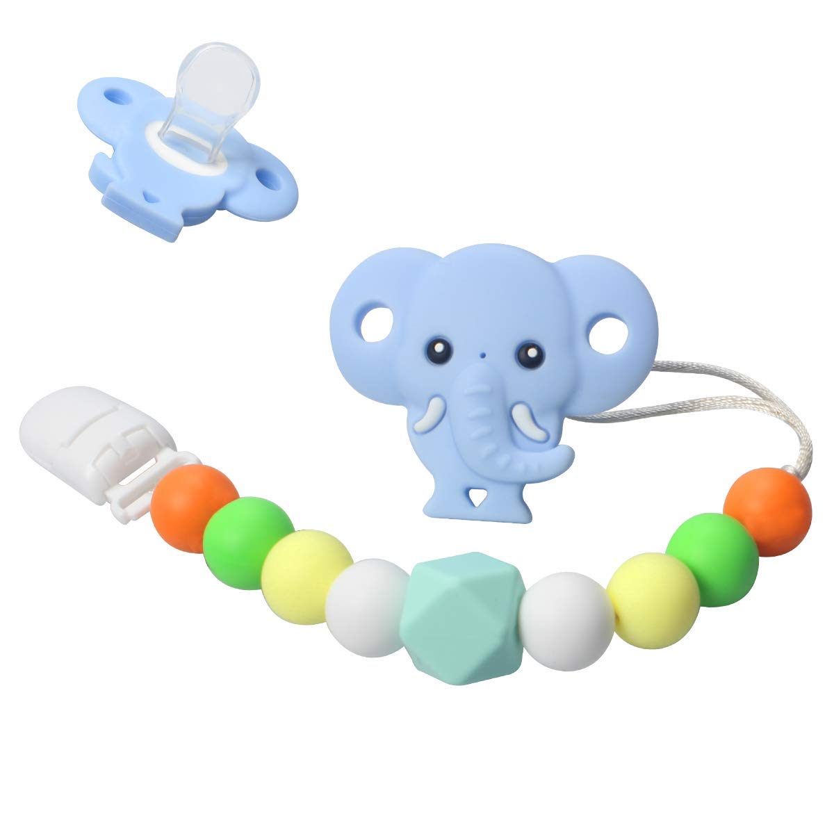 OUENUAH Baby Pacifier Clip - 3 in 1 - Silicone Teething Beads + Elephant Teether Toys + Pacifier - Soother Chain and Universal Pacifier Holder Set, BPA Free Food Grade Binky Holder for Babies Toddlers
