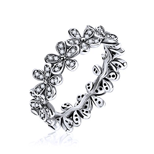 Silver Flowers Finger Rings Dazzling Daisy Meadow Stackable Ring, Clear CZ For Women & Girls Fashion Jewelry (alloy, 6) (Sterling Silver Delicate Flower Ring)