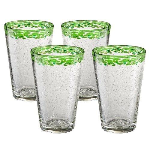 Artland Mingle Tumbler (Set of 4), Green (Hand Blown Glass Tumbler)