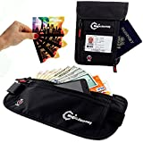 Money Belt and Neck Pouch Pack + 4 RFID Blocking Credit Card Sleeves - Comfortable Hidden Waist Stash and Passport Holder Neck for Men and Women