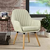 GOTMINSI Living Room Chair Leisure Fabric Accent Chair with Solid Bentwood Legs(Beige)