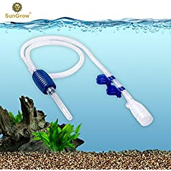 Aquarium Gravel Cleaner with Clips - Quick & Easy Assembly - Long Nozzle Manual Water Pump - Great for Frequent Water Changes - Fish Tank Cleaning Kit for Saltwater and Freshwater