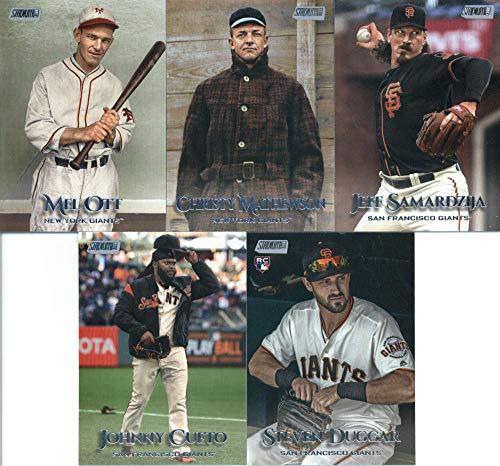 2019 Topps Stadium Club Baseball San Francisco Giants Team Set of 11 Cards: Christy Mathewson(#29), Mel Ott(#204), Johnny Cueto(#222), Juan Marichal(#225), Dereck Rodriguez(#234), Steven Duggar(#238), Buster Posey(#244), Jeff Samardzija(#249), Brandon Crawford(#263), Evan Longoria(#294), Will Clark(#300)