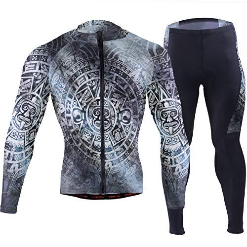 American Indian Mayan Calendar Men's Cycling Jersey Set Breathable Quick-Dry MTB Road Bike Luxury Black