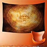 Tapestry Wall Hanging Tapestry Demon Trap Symbol Logo Ceremony Creepy Ritual Paranormal Design Orange Home Room Wall Decor(90.5W x 59L INCH)