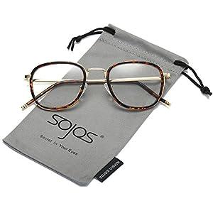 SojoS Square Clear Lens Eyewear Prescription Eyeglasses Frames for Men and Women SJ5017 With Tortoise Frame/Gold Temple