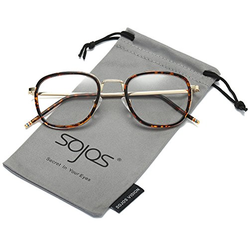 SojoS Square Clear Lens Eyewear Prescription Eyeglasses Frames for Men and Women SJ5017 With Tortoise Frame/Gold Temple