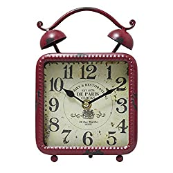 Vintage Rustic Antique Distressed Looking Table/ Desk Clock - Red Square Table Clock