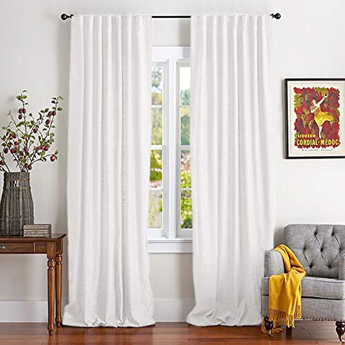 White Cotton Curtains for Bedroom Cotton Curtains 84 inches Long Window Curtain Panels for Living Room Rod Pocket, 2 Panels