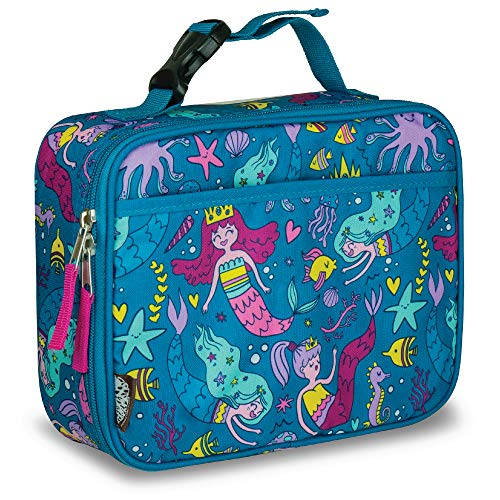 LONECONE Kids' Insulated Fabric Lunchbox - Cute Patterns for Boys and Girls, Fish + Chips (Mermaids), Standard with Buckle