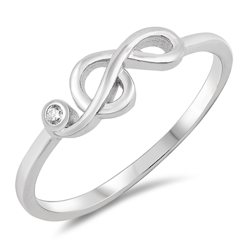 Sterling Silver Bezel Set Clear Cubic Zirconia Treble Clef Musical Note CZ Ring - Size 7