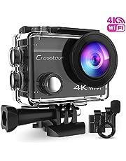 Crosstour cámara Deportiva 4k 16mp WiFi cámara acción acuática Agua de 40m con micrófono Externo y 2 baterías Recargables Anti-Vibraciones Time Lapse y múltiples Accesorios Kit.