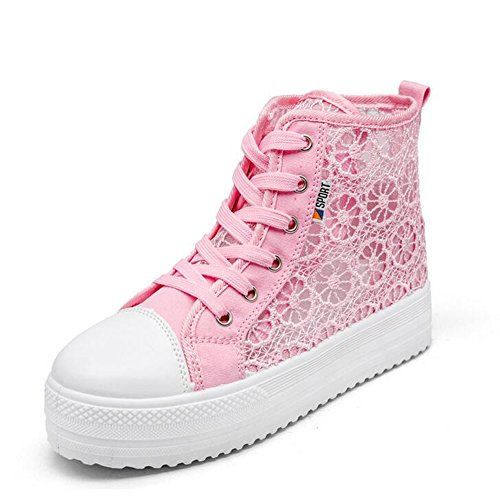 Lace Pink Womens Sports Thick Breathable ANDAY Ankle Pumps Sandals Outdoor Sole Casual Flatform Hollowed Shoes dtd61q