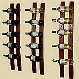 DCIGNA Barrel Stave Wine Rack, Wood Wall Mounted Wine Rack, Wine Bottle Holder Rack, Imported Pine Wood - 5/6 Bottles 40x7.6inch (Red Wine Color)