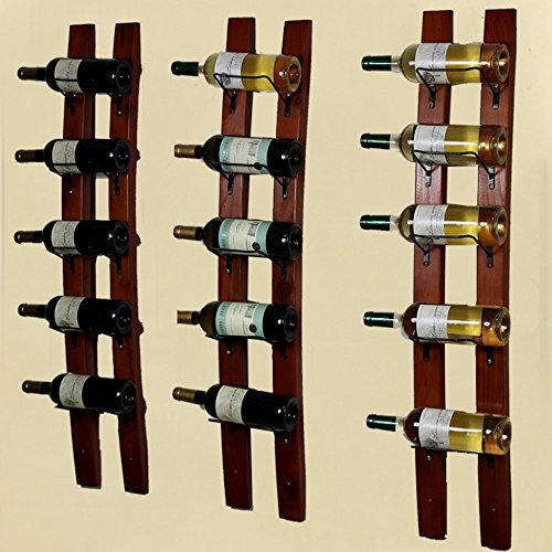 DCIGNA Barrel Stave Wine Rack, Wood Wall Mounted Wine Rack, Wine Bottle Holder Rack, Imported Pine Wood - 5/6 Bottles 40x7.6inch (Red Wine Color) by DCIGNA