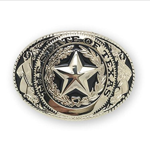 KeCol Adult Unisex Western Texas Lone Star Belt Buckle Silver Gold (Tony Lama State Of Texas Belt Buckle)