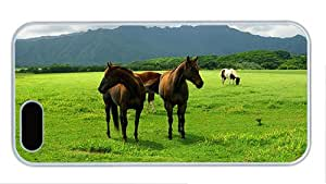 Fashion custom iphone 5S covers Horse grazing on the grasslands PC White for Apple iPhone 5/5S