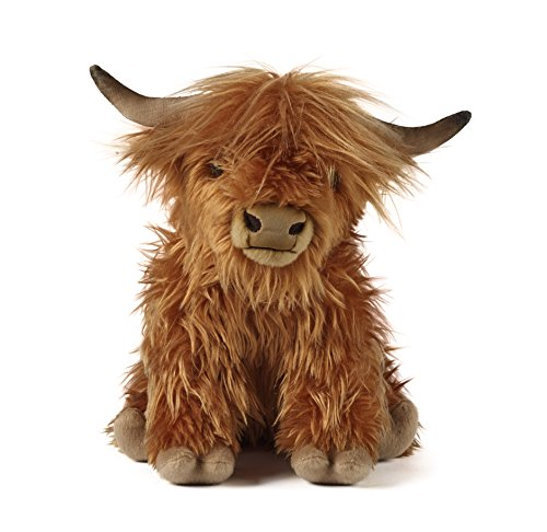 (Living Nature Soft Toy - Large Plush Highland Cow with Sound)