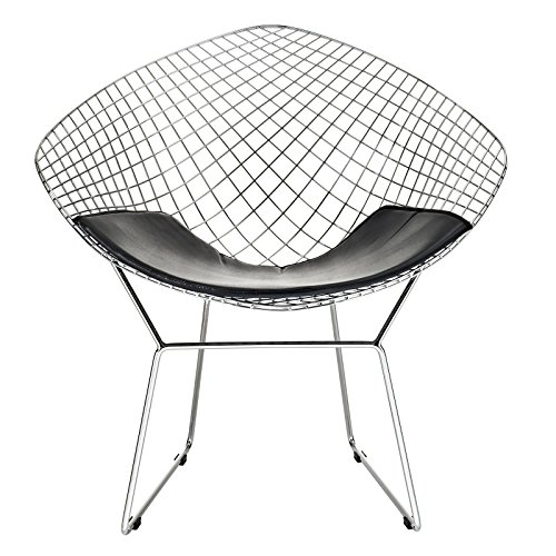 Bertoia Wire Diamond Chair - Modway CAD Contemporary Modern Wire Lounge Accent Chair in Black
