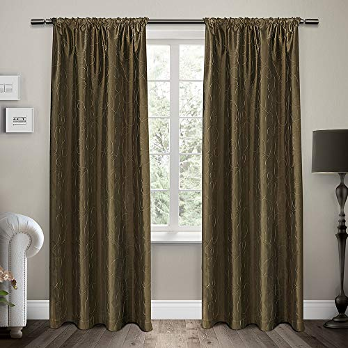 Exclusive Home Saturn Embroidered Rod Pocket Curtain Panel Pair, Cappuccino, 54x84, 2 - Barn Embroidered Drapes Pottery