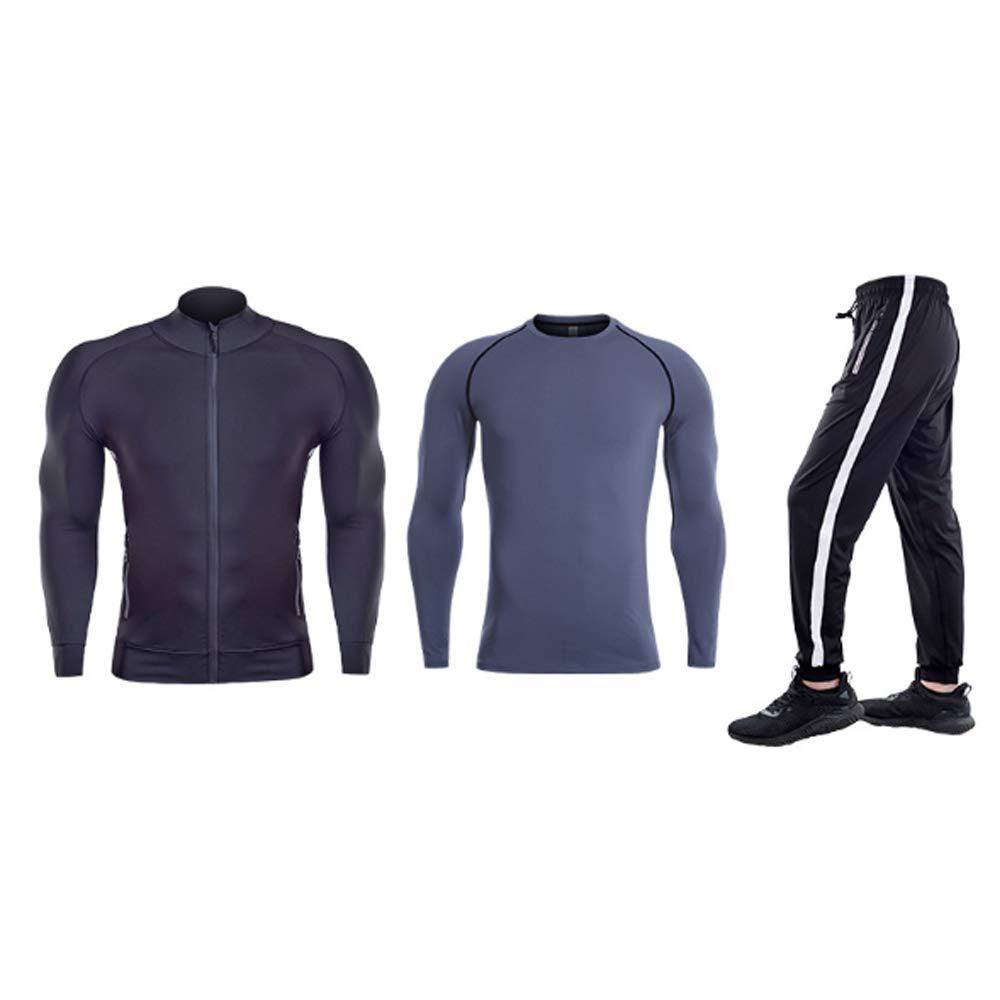 QJKai Schwarze, schnelltrocknende Laufbekleidung für den Sport, die Fitnesskleidung dreiteilige Lange Ärmel trainiert