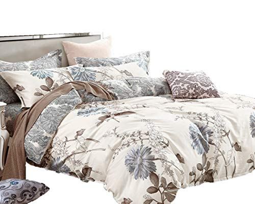 5 Piece Duvet Cover Bedding - Swanson Beddings Daisy Silhouette Reversible Floral Print 5-Piece 100% Cotton Bedding Set: Duvet Cover, Two Pillowcases and Two Pillow Shams (King)