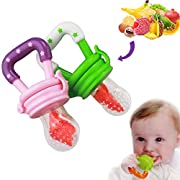 Tool Gadget Baby Fruit Feeder, 2 pcs, Silicone Furit Teether Pacifier with Mesh Nipple for Toddlers, 100% Safe Food Grade Silicone, BPA free, No Smell