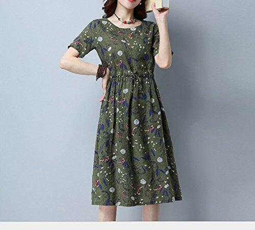 Hippolo t nouveau coton de style national et robe de lin fminine dentelle lache avec une fine jupe florale rtro (M, bleu) Vert