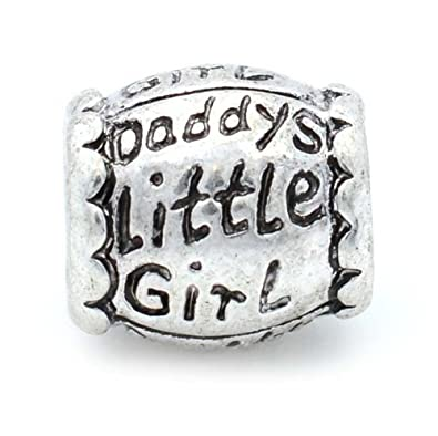 Amazon Com Pro Jewelry Daddy S Little Girl Barrel Bead Charm For