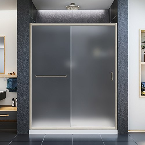 DreamLine Infinity-Z 50-54 in. W x 72 in. H Semi-Frameless Sliding Shower Door, Frosted Glass in Brushed Nickel, SHDR-0954720-04-FR