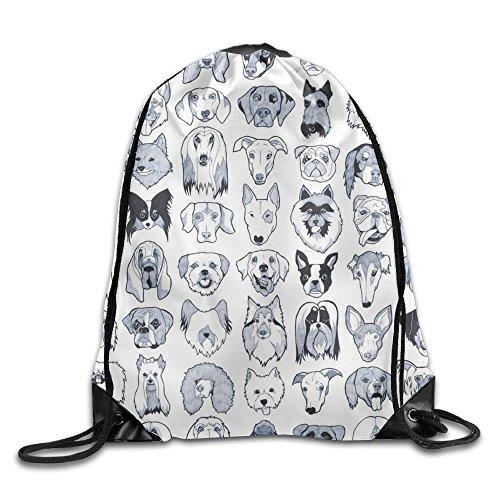 Dunh Cute Dog Gym Sack Bag Drawstring Backpack Sport Bag